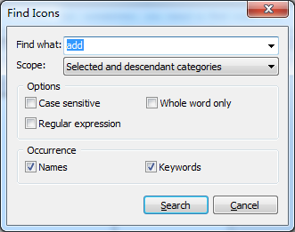 icons finder dialog
